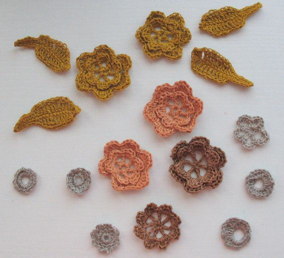 12 Linen Crochet Applique Flowers with 4 Leaves Natural Grey Dove Gray Yellow Orange Brown