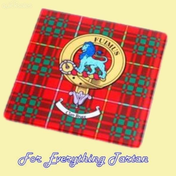 Clan Crest Tartan Clan Badge Tartan Glass Drink Coaster by JMB7339 - $20.00