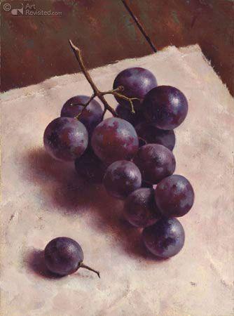 '' Tros blauwe druiven '' 18.7 x 14.0 cm - Olieverf op paneel - 2006  by Marius van Dokkum