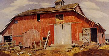 'Old Iowa Barn', by Marvin Cone.  (1891-1965)  This is a beauty.: Farm, Cone 1891 1965, Iowa, Building, Master Artists, Art Landscapes, Children, American Artists