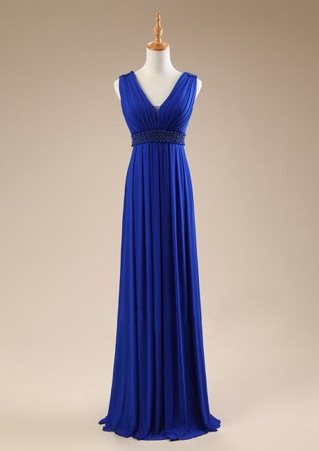 Floor Length V-neck V-back Sash Sleeveless Blue A-line Chiffon Ruched Homecoming / Prom Dresses