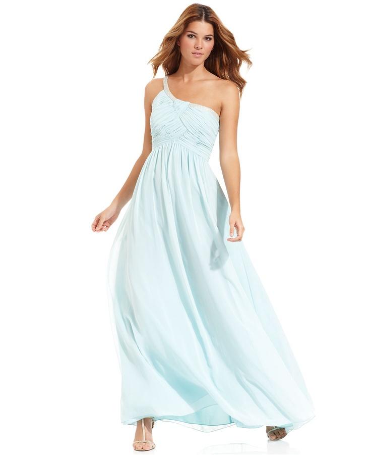 Calvin klein dress sleeveless beaded oneshoulder gown