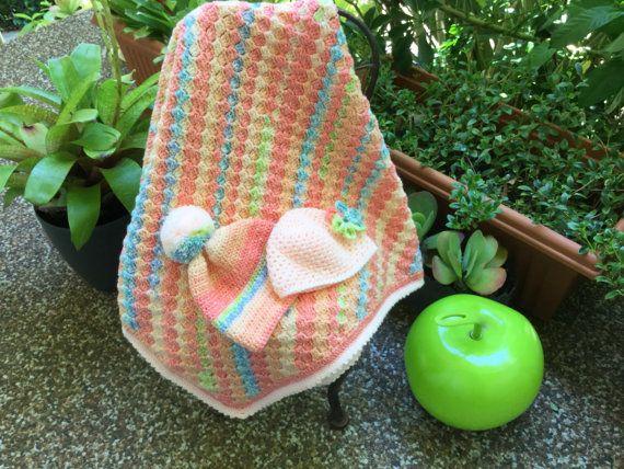 Baby blanket  baby shower gift set crochet blanket set