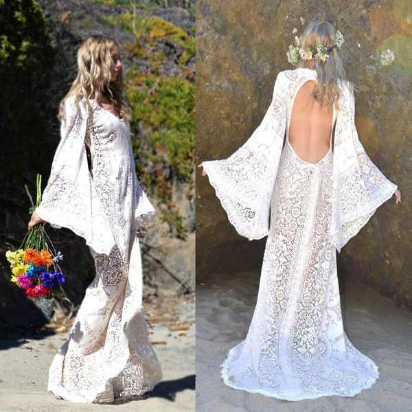Vintage Crochet Lace Festival Angel Sleeves Backless Boho Hippie... ($548) ❤ liked on Polyvore featuring dresses, grey, women's clothing, crochet lace dress, lace dress, sleeve dress, gray lace dress and gray dress