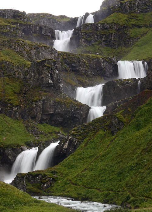 Klifbrekkufossar, Mjoifjordur, Iceland by Fred Schalk: radvis: | Tumblr