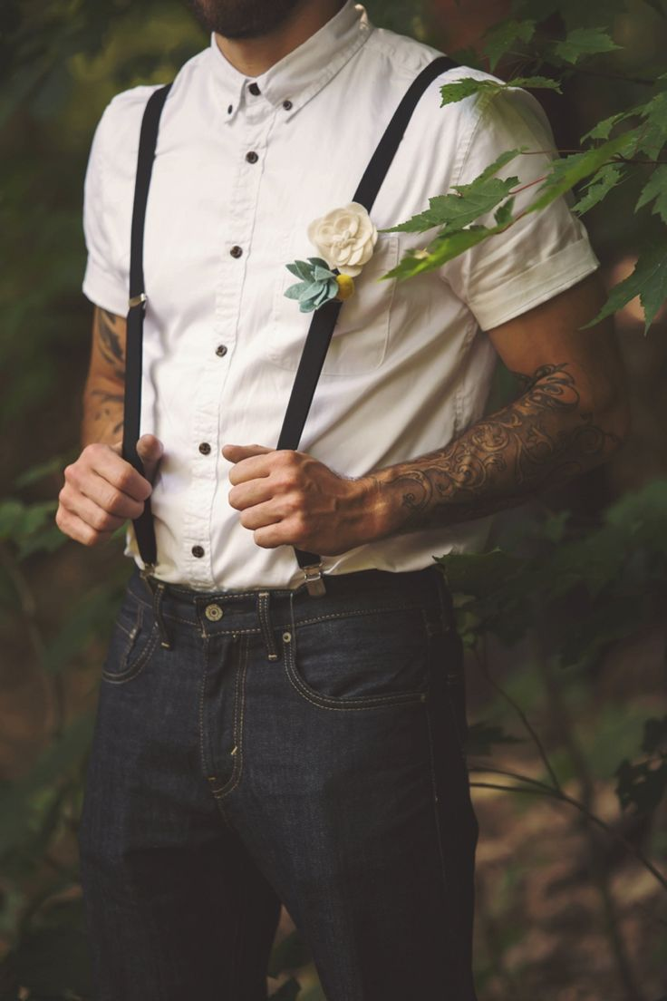 Groomsman White Shirt Black Suspenders Jeans Felt Floral Button Hole Tattoos Artistic Whimsical Woodland Wedding http://www.adlivcollective.com/