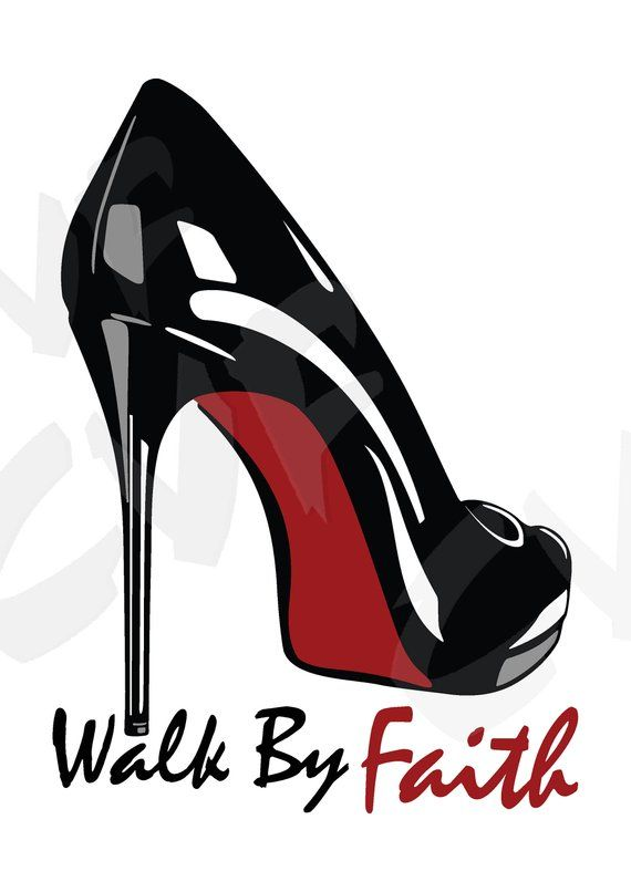 350caed9d2cdd Vector LACED LUXURY SHOE, Walk By Faith, ai, eps, pdf, svg, dxf, png ...