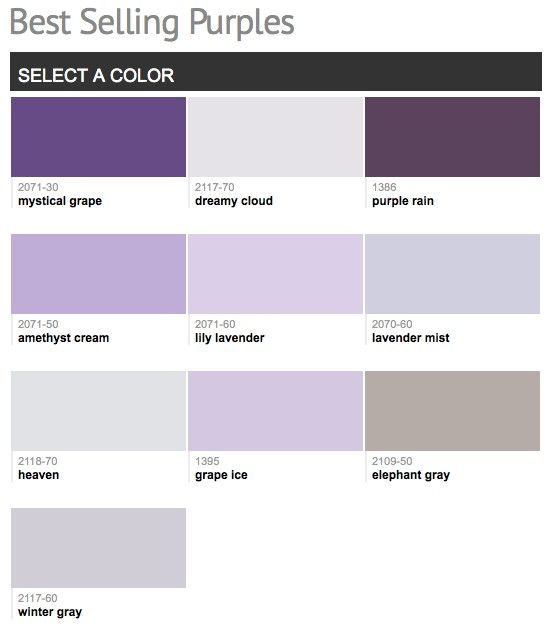 Best selling & popular shades of purple & violet paint colors from Benjamin Moore.