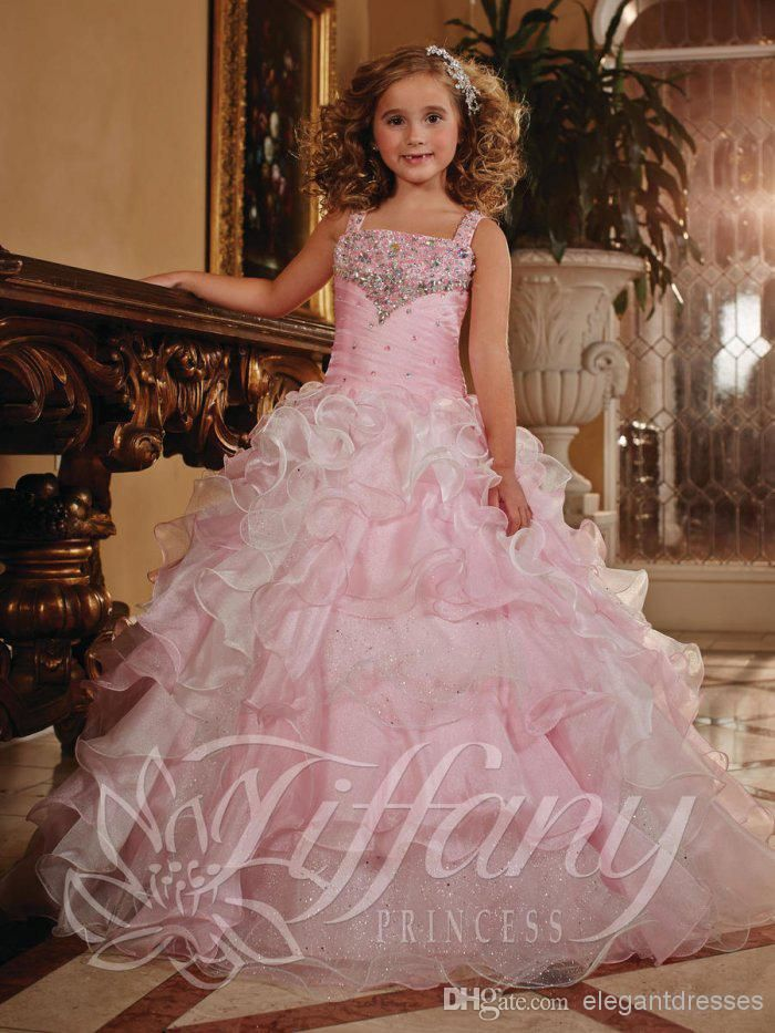 Cool Girl Gowns Dresses Lovely Princess Beauty Flower Girls Pageant Dresses Ball Gowns Beaded Sequins Formal
