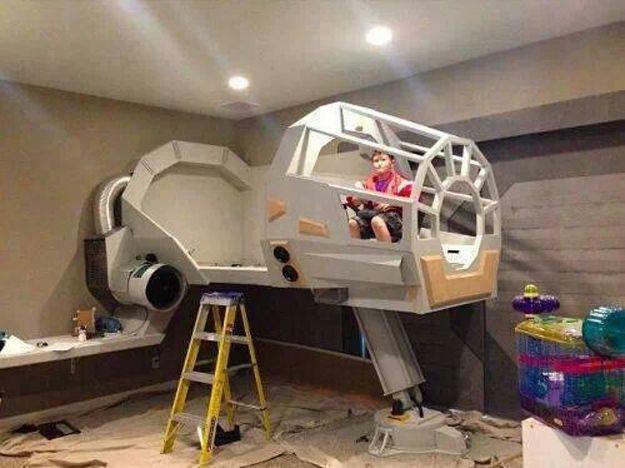 Whoa! Epic Star Wars bed in the making! #starwars