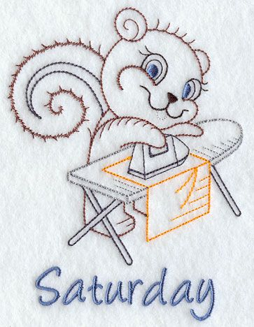 Image by EMBROIDERY LIBRARY INC - Spring Cleaning Squirrel on Saturday