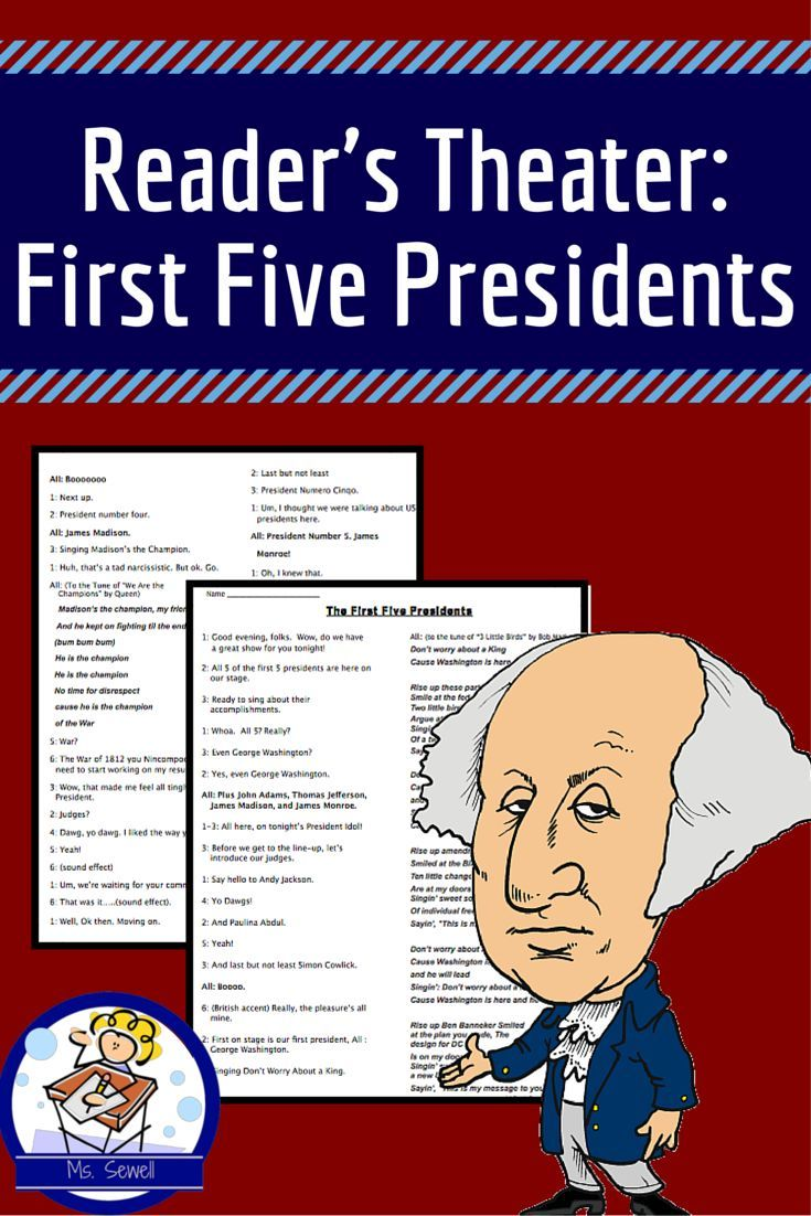 This reader's theater teaches students important facts about the first five presidents of the US (based on Virginia US History standards). In this dramatization, the presidents are competing in an American Idol style competition, singing about their lives.   Students can add some of their own lines to the script, but the majority of the work is written for you!   There's spots in the script where students can add sound effects and gestures.