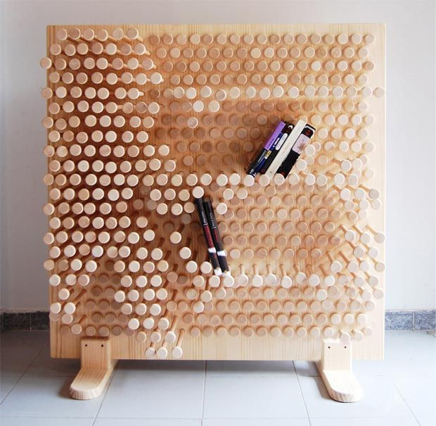 Love this pin-press shelving, the 'shelves' mould to accommodate the objects placed on them