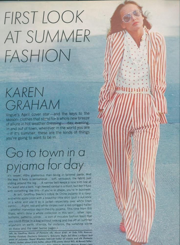 Karen Graham in pajama fashion featured in Vogue (1970's)