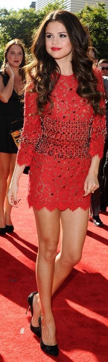 Selena Gomez Red Laced Dress From Dolce & Gabbana