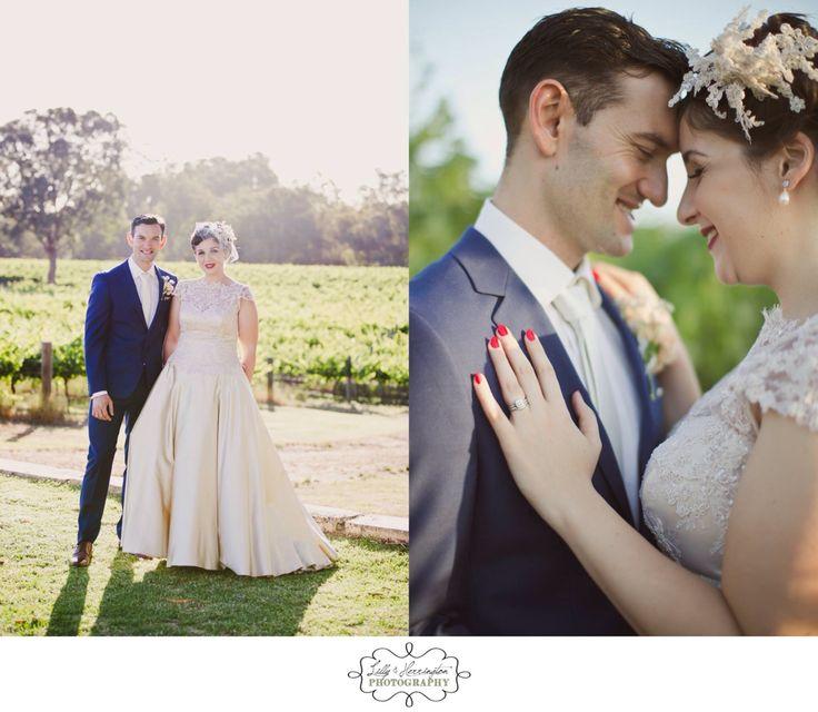 Bride & groom, vintage wedding dress. Vineyard wedding. Perth wedding photography. Lilly & Herrington Photography. Www.lillyandherrington.com