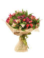 ПРЕЗЕНТ  Яркий букет из очаровательной хризантемы сантини, альстромерии и кустовой розы, милый презент по поводу и без!