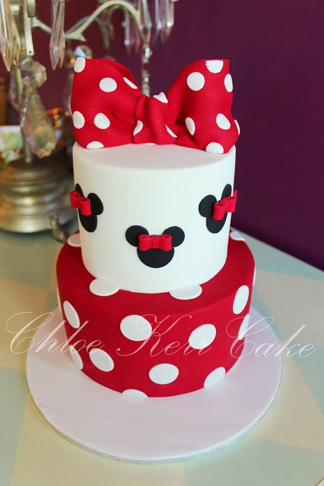 Minnie Mouse cake in red, black and white - Chloe Kerr Cakes