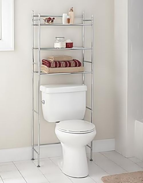 Unique  CHROME WALL MOUNTED BATHROOM TOWEL HOLDER SHELF STORAGE RACK RAIL