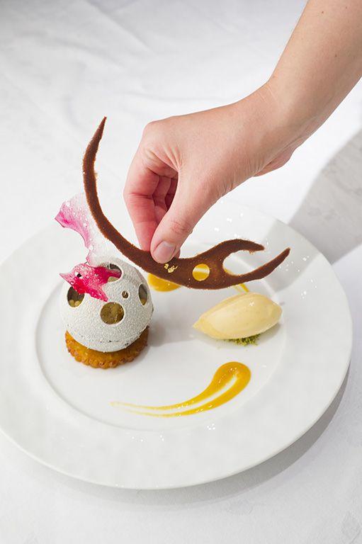At La Côte Saint Jacques Spa. Restaurant of Grand Chef Relais Châteaux Jean-Michel Lorain and hotel on a river. France, Joigny. #relaischateaux #lorain #gastronomie #gourmet #dessert