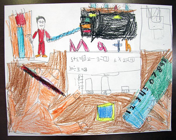 A third-grade student captures the love of math with colourful artwork! Share your classroom's inspiring art in our Student Art Exhibition: http://oct-oeeo.ca/art #art #math #mathematics #school #artwork #learning #education #classroom