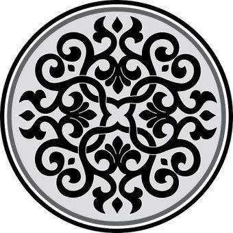 """Stickers Pour Plafond """"rosasse"""" Dimension : 50 Cm Ou 80 Cm De Diamètre Noir Et Gris"""