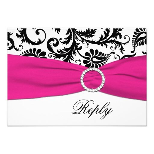 This DealsBlack, White, Fuchsia Damask Reply Card Inviteyou will get best price offer lowest prices or diccount coupone