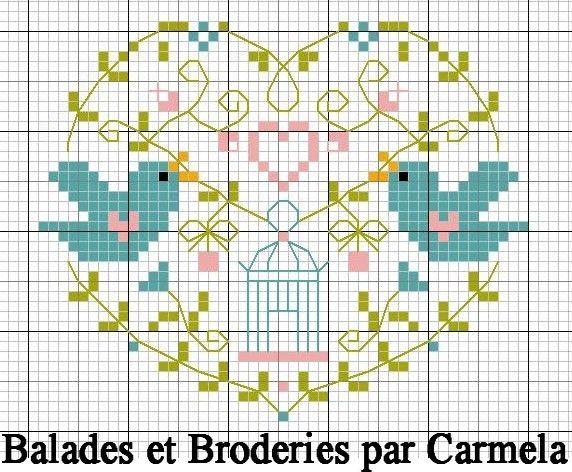 Coeur aux oiseaux - balades-et-broderies / bird / love / heart / small / pastel