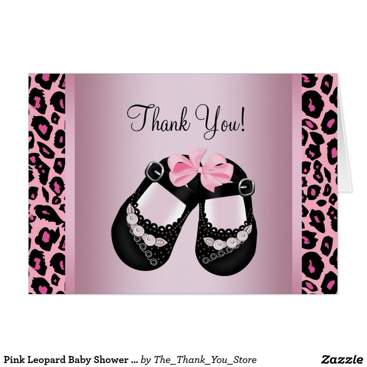 bridal shower thank you cards etiquette%0A Pink Leopard Baby Shower Thank You Card