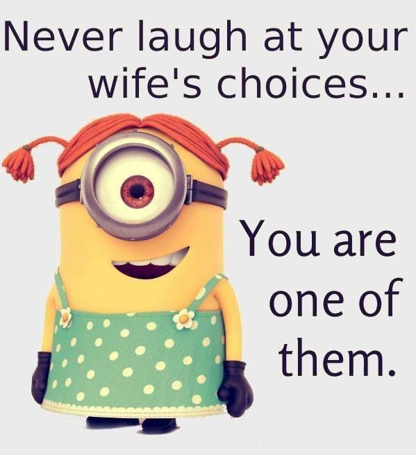Never Laugh At Your Wife's Choices You Are One Of Them