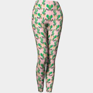 print Leggings cactus et ananas sur fond rose   /   Leggings Cactus and pineapple on pink background