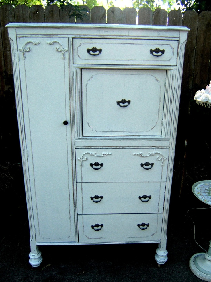 Shabby Chic Distressed Linen White Wardrobe Armoire Dresser Reserve Nicole 450 00 Usd
