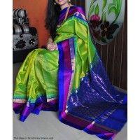 Rimzim Enterprise - zestful Green and Blue Zarna silk Digital printed saree