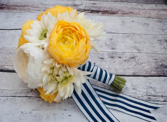 Nautical Wedding Bouquet by Kate Said Yes!  Yellow and White Ranunculus, Daisy, and Mum wedding bouquet, tied with navy and white satin.  KateSaidYes, www.katesaidyes.etsy.com