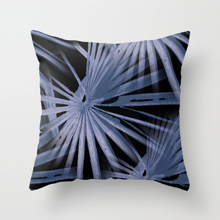 Buy Blue On Black Tropical Vibes Beach Palmtree Vector Throw Pillow By Taiche Worldwide Shipping Available At Society6 Co Throw Pillows Tropical Vibes Pillows