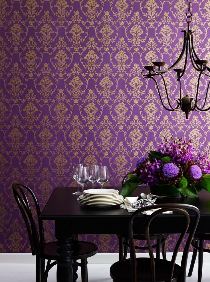 Flannel Flower Damask wallpaper in Gold on Purple, www.moorewallpaper.com