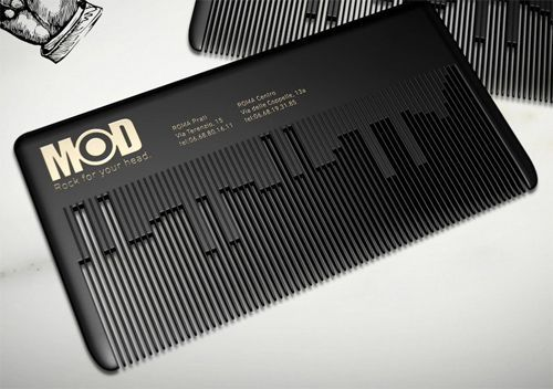 "Fascinating Unique Custom Shape Musical Comb Business Card Template by MODHair, a ""rock n' roll"" hair salon in Rome."