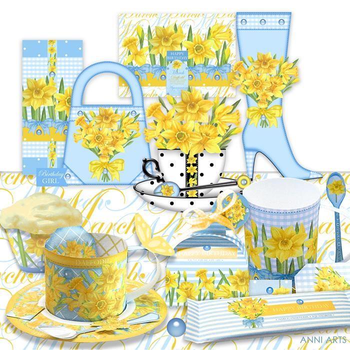 March Birth Flower & Gem Printables Combo Bundle