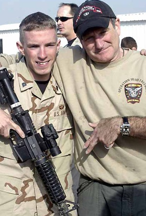 """Robin Williams signs """"gripping the weapon with a comrade in arms"""" ... God Speed, RW."""