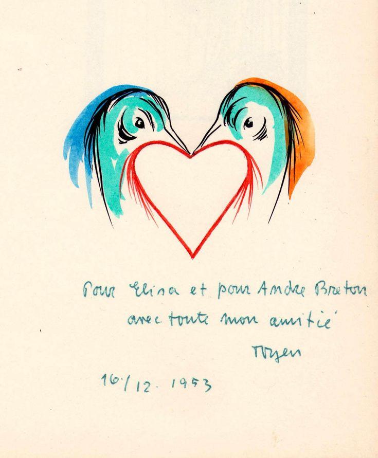 Toyen (Marie Cerminova)   (1902-1980)  Dedicatory to Andre Breton and hins wife in Les Spectres du Desert (The Specters of the Desert). livre d'artiste, 1953