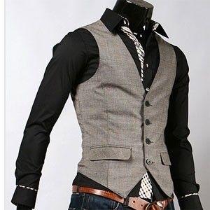 Swallow tail casual mens vest dandy hot item beige