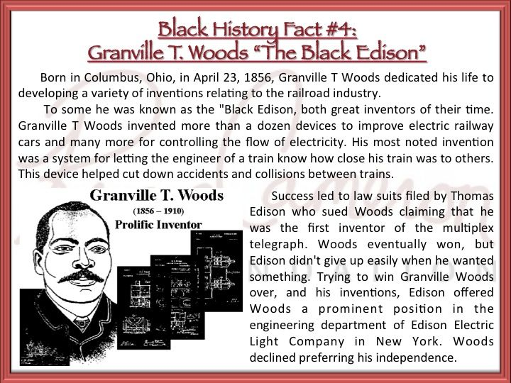 the life and contributions of granville t woods Born in columbus, ohio, on april 23, 1856, granville t woods dedicated his life  to developing a variety of inventions relating to the railroad.