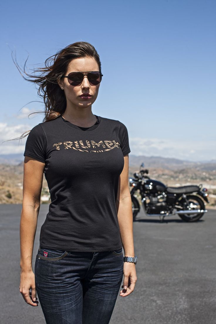You'll feel as fierce on the road as you'll look off in the Triumph Tiger T-shirt for Women. This slim-fit tee that features a lively tiger print Triumph logo, celebrates the Triumph Tiger.