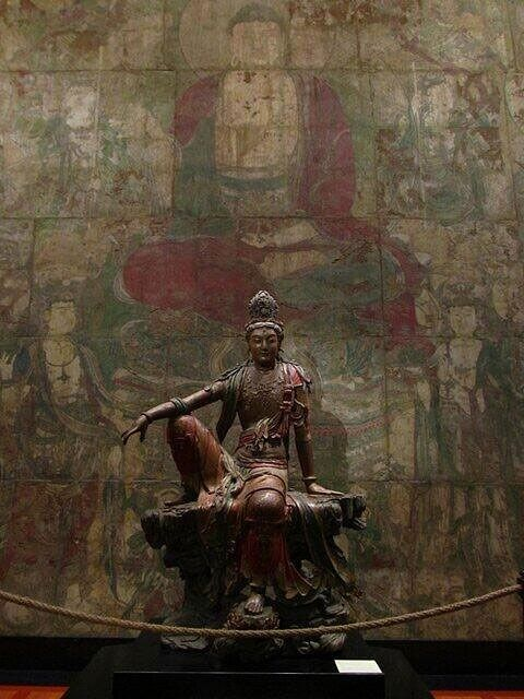 Guanyin of the Southern Sea, Chinese, century, Liao or Jin Dynasty Wood with polychrome, 95 x 65 inches. Nelson-Atkins Museum of Art, Kansas City, Missouri