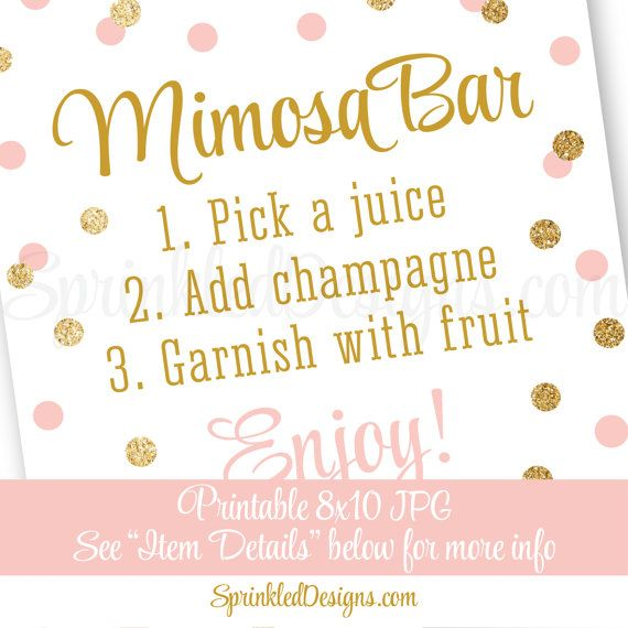 Mimosa Bar Sign - Blush Pink Gold Glitter Baby or Bridal Shower Ideas - Sip N See Party Sign - Birthday Party - Printable 8x10 Table Sign ★ RE-COLOR/RE-SIZE: https://www.etsy.com/listing/235764069/ ★ PRINTING: https://www.etsy.com/listing/209879690/ ★ RE-COLOR AND PRINT: