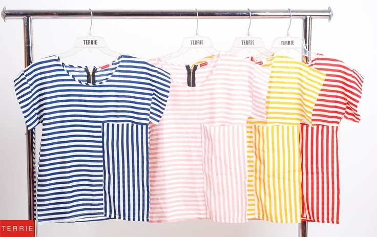 TERRIE WOMAN: BLOUSE STRIPES    CODE NAME: IYA    COLOR: BLUE, LIGHT PINK, YELLOW & RED    SIZE: FREE SIZE    PHP 560        www.terrieonline.com