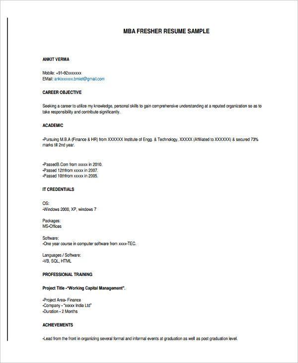 B E Resume Format For Freshers Resume Format Professional