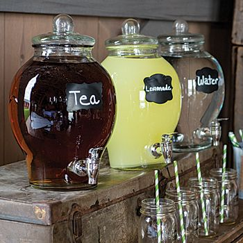 This Country Chic Glass Beverage Dispenser is the perfect choice for both formal and informal gatherings. Serve your drinks in style!