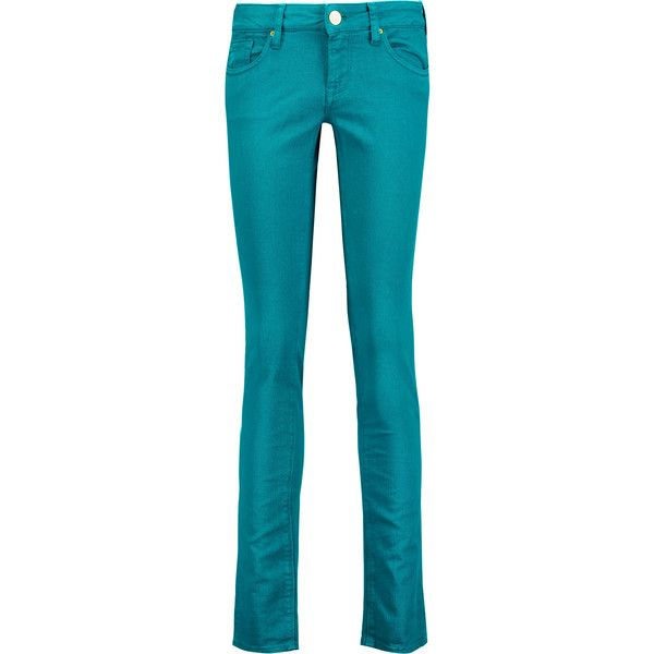 M Missoni Mid-rise skinny jeans ($160) ❤ liked on Polyvore featuring jeans, pants, teal, teal jeans, denim skinny jeans, mid rise jeans, blue jeans and skinny fit jeans