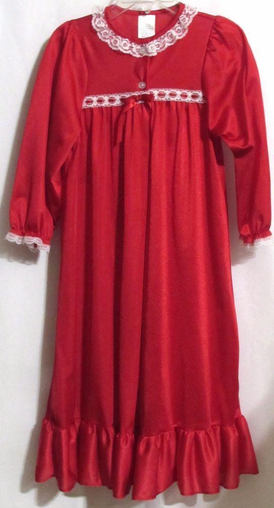 New Girls LAURA DARE Red Silky White Lace Trim Long Sleeve Full Length Robe  4 #LauraDare #Robe